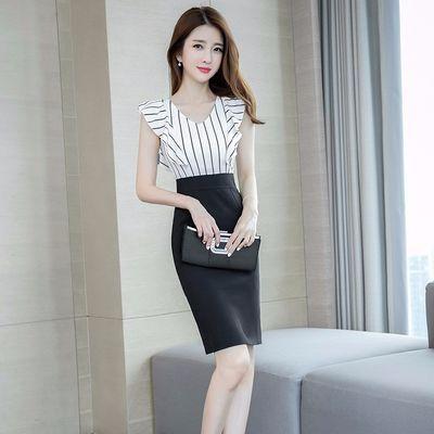 夏装2019新款女职业OL气质性感时尚流行条纹修身显瘦包臀连衣裙