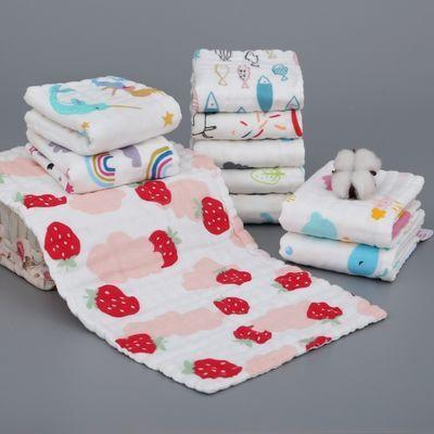 六层纯棉小毛巾儿童洗脸面巾高密纯棉方巾全棉卡通纱布手巾喂奶巾