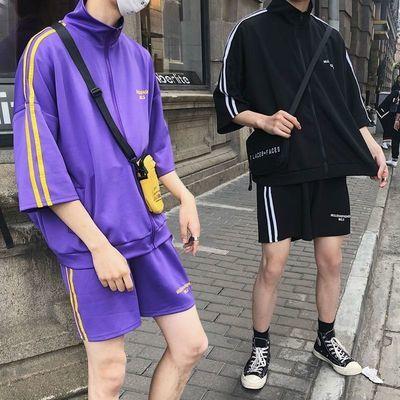 新款男生套装夏季潮流帅气七分袖运动服宽松短裤情侣宽松休闲套装