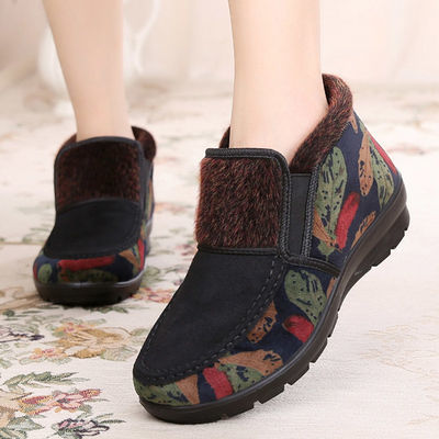 老北京布鞋女冬平底奶奶鞋老年人加绒加厚保暖防滑老太太妈妈棉鞋
