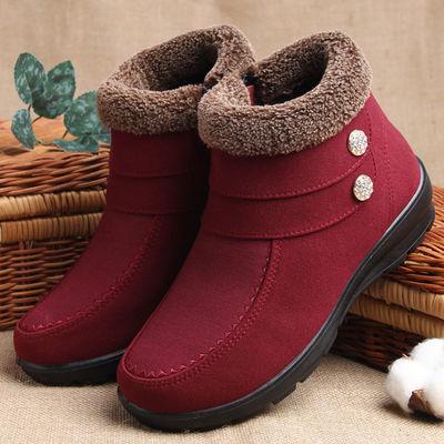 冬季休闲妈妈棉鞋老北京布鞋加绒加厚中年棉短靴防滑老人鞋女棉靴