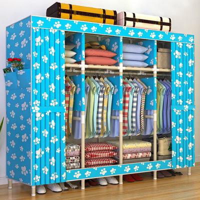 新品特价简易布衣柜加粗加固实木非钢管牛津布艺衣橱大容量收纳架