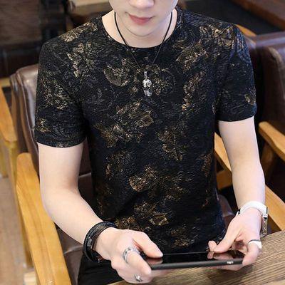 夏季男士短袖T恤青少年圆领男装个性t恤韩版修身男士百搭长袖体恤