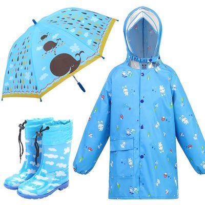 儿童牛津布雨衣男童女童学生中大童雨披拉链大帽檐松紧袖儿童雨具