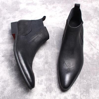 冬季韩版男士高帮皮鞋男尖头真皮靴子男靴英伦加绒马丁靴中帮短靴