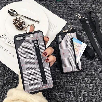 女格子零钱包华为nova7/6se/5Pro手机壳P40挂绳荣耀20i畅享10硅胶