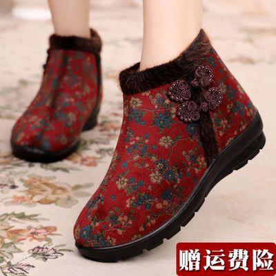 老太太棉鞋老北京布鞋女秋冬款老人防滑保暖老年软底加绒妈妈奶鞋