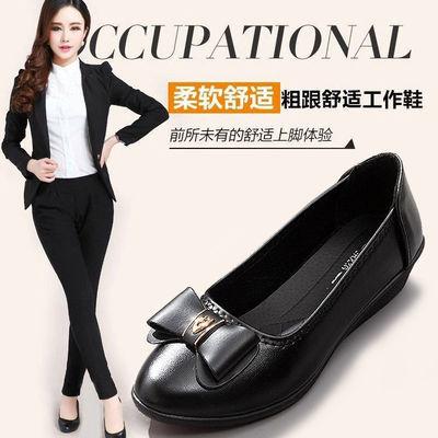 妈妈鞋单鞋2020春秋新款软底舒适浅口中跟粗跟中老年大码女士皮鞋