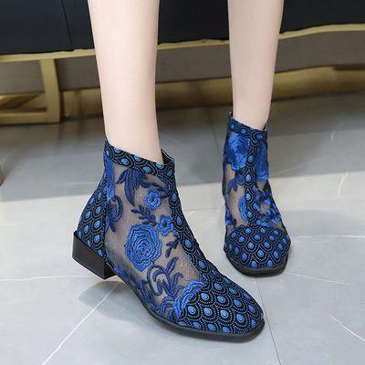 镂空靴子女凉鞋中跟网靴透气花朵蕾丝短靴2020新款春季方头凉靴潮