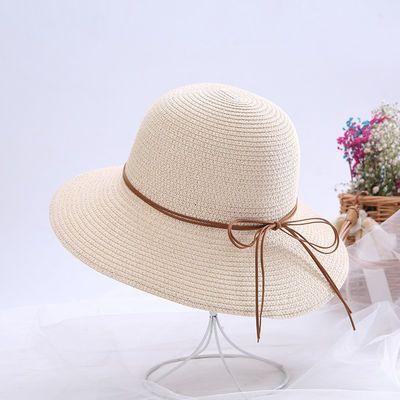 帽子女草帽夏季小檐韩版百搭沙滩海边潮遮阳防晒帽夏天时尚渔夫帽
