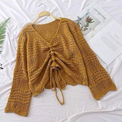 韩版宽松针织衫短款毛衣女长袖网洞春季上衣抽绳镂空V领罩衫薄款