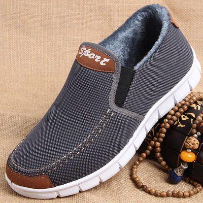 老年人鞋子男秋冬季老北京加绒布鞋爸爸男士冬天二棉鞋保暖休闲鞋