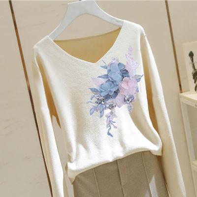 多款可选V领长袖针织衫女秋季韩版新款宽松花朵毛衣女百搭打底衫