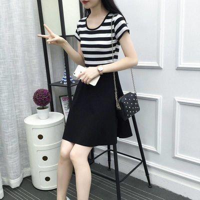 条纹连衣裙女夏2020新款韩版宽松中长款T恤学生休闲裙子显瘦