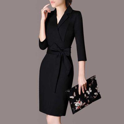 2020春秋新款长袖连衣裙女装修身显瘦OL气质职业装正装包臀裙子女