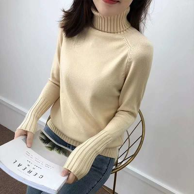 2020秋装新款宽松高领套头毛衣女两翻领韩版长袖女士打底针织衫潮