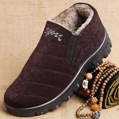 老人鞋男老年防滑软底爷爷70老北京布鞋男冬季棉鞋加绒棉保暖靴子