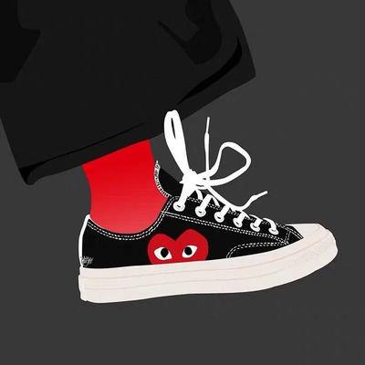1970s川久保玲联名爱心大眼 三次硫化底 高低帮男女款板鞋帆布鞋