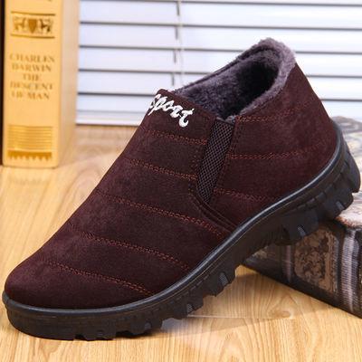 老北京布鞋男棉鞋秋冬二棉薄绒中老年爸爸薄棉鞋防滑休闲老人棉鞋