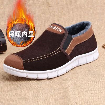 秋冬老北京布鞋男款加绒二棉鞋轻便保暖低帮休闲棉鞋老年父亲鞋子