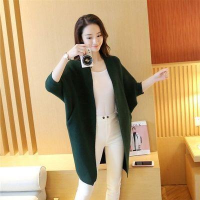 春装新款蝙蝠袖大码女装韩版中长款宽松纯色毛衣女针织开衫外套
