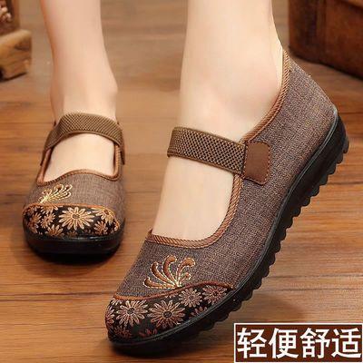 老人老北京布鞋女秋季2019新款平底中老年妈妈软底太太鞋子奶奶鞋