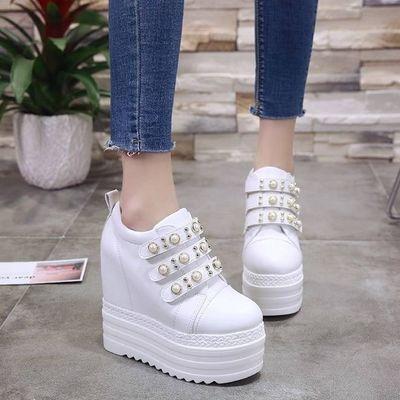 2020春秋韩版内增高女鞋松糕厚底坡跟休闲鞋防水台超高跟12cm学生