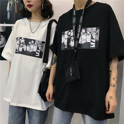 情侣装一男一女五分袖半袖嘻哈短袖t恤原宿bf风男女学生韩版班服