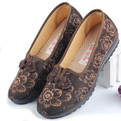 老人家鞋子 妈妈老北京布鞋老人鞋女防滑软底秋季60-70岁老年人鞋