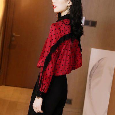 POLO领仿真丝衬衫女士长袖2020春装新款红色波点拼色仿桑蚕丝上衣