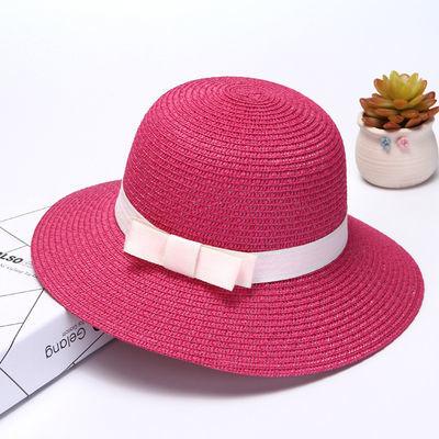 可折叠防风带升级版草帽女夏遮阳帽沙滩帽大檐草编帽盆帽多款可选