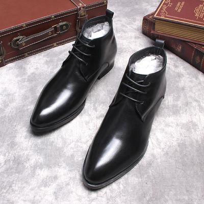 冬季保暖男士棉靴英伦短靴尖头男靴潮流男鞋马丁靴纯羊毛真皮靴子