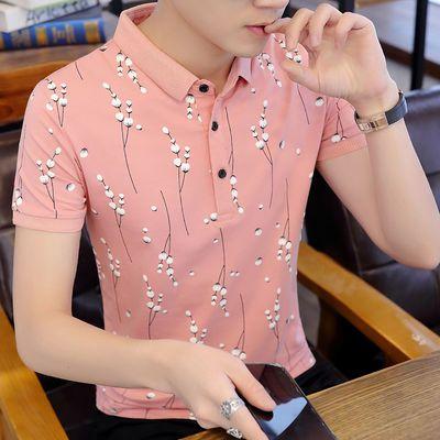 新款男士短袖polo衫男纯棉翻领t恤学生韩版潮流ins夏季衬衫领男装