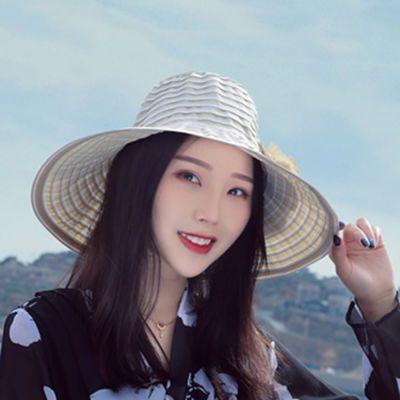 帽子女夏天韩版潮防紫外线遮阳帽大沿遮脸可折叠太阳帽防晒帽女士