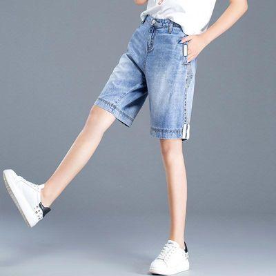 牛仔短裤女夏2020新款高腰5分四分五分裤女宽松嘻哈bf风直筒中裤