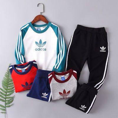 Adidas儿童运动套装阿迪达斯三叶草中小童春秋款圆领两件套男女棉