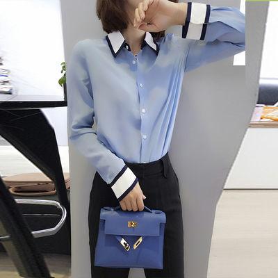 欧洲站2020春装新款欧洲站撞色洋气OL衬衣设计感韩范衬衫女上衣潮
