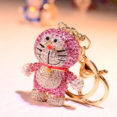 哆啦A梦镶钻钥匙扣可爱女叮当猫汽车钥匙链机器猫包挂件情侣一对