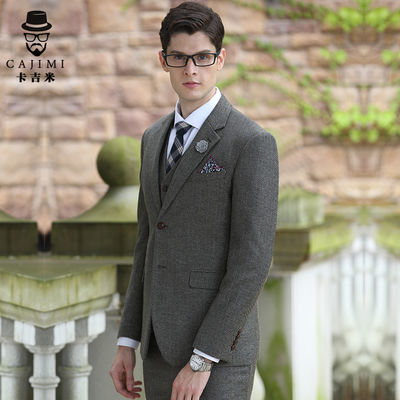 西装男套装修身商务正装新郎结婚礼服伴郎服香槟粗斜纹五件套套装