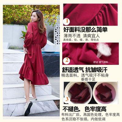 女学生春夏韩版宽松裙子新款红色系带灯笼袖A字连衣裙仙女裙长裙