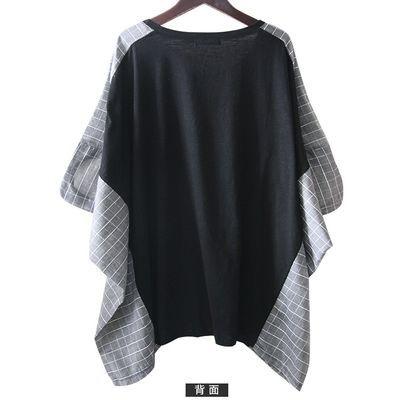 95棉春装新品大码蝙蝠袖宽松T恤女格子拼接韩版学生中长款蝙蝠衫