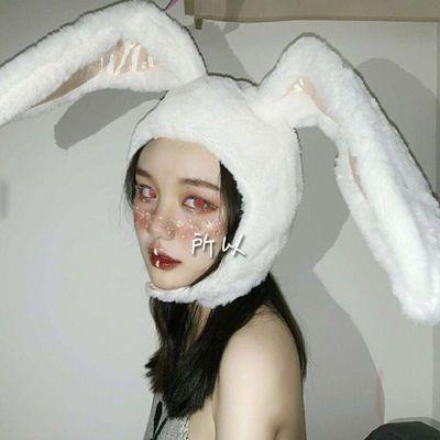 日系卡通少女粉嫩立体兔耳朵帽子软妹可爱小兔子头套小宅拍照道具