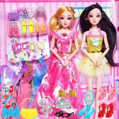 洋芭比娃娃套装大礼盒公主女孩儿童玩具屋衣服布生日礼物可爱婚纱