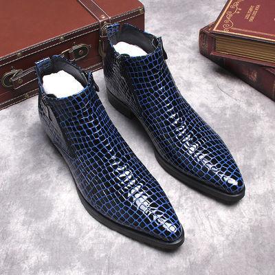 欧美男靴潮流双拉链尖头高帮皮鞋男英伦漆皮石头纹休闲马丁靴短靴