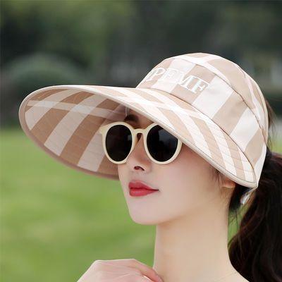 太阳帽女新款户外沙滩帽遮阳帽子大帽檐时尚出游防晒帽夏天空顶帽
