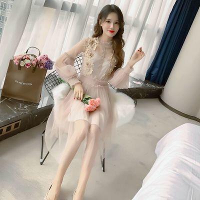 韩版中长款温柔蕾丝网纱两件套仙女裙子灯笼袖吊带连衣裙收腰长裙