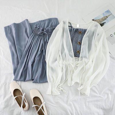 【三件套】套装韩版时尚女夏小清新雪纺防晒衣外套吊带高腰阔腿裤