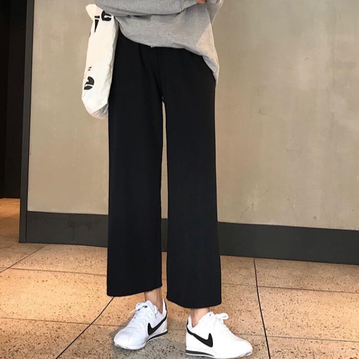 裤子女学生韩版宽松显瘦夏季高腰阔腿裤黑色九分直筒裤休闲裤胖mm