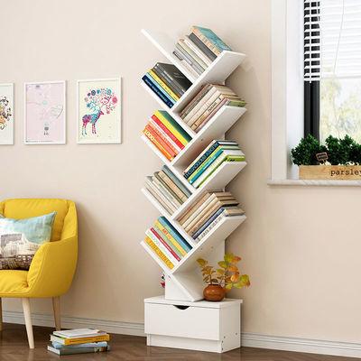 书架置物架落地书柜儿童简约现代家用小书架客厅卧室简易树形书架