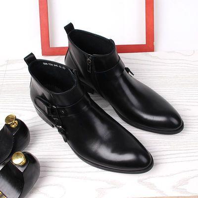 欧美新款男士高帮皮鞋男尖头马丁靴男真皮靴子男靴英伦休闲短靴潮